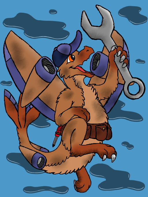 Spanner the Repair Planedragon! - by Rijolt & Me