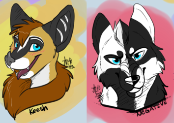 Batty Keesh and Negative Fox sketches by Jalmu