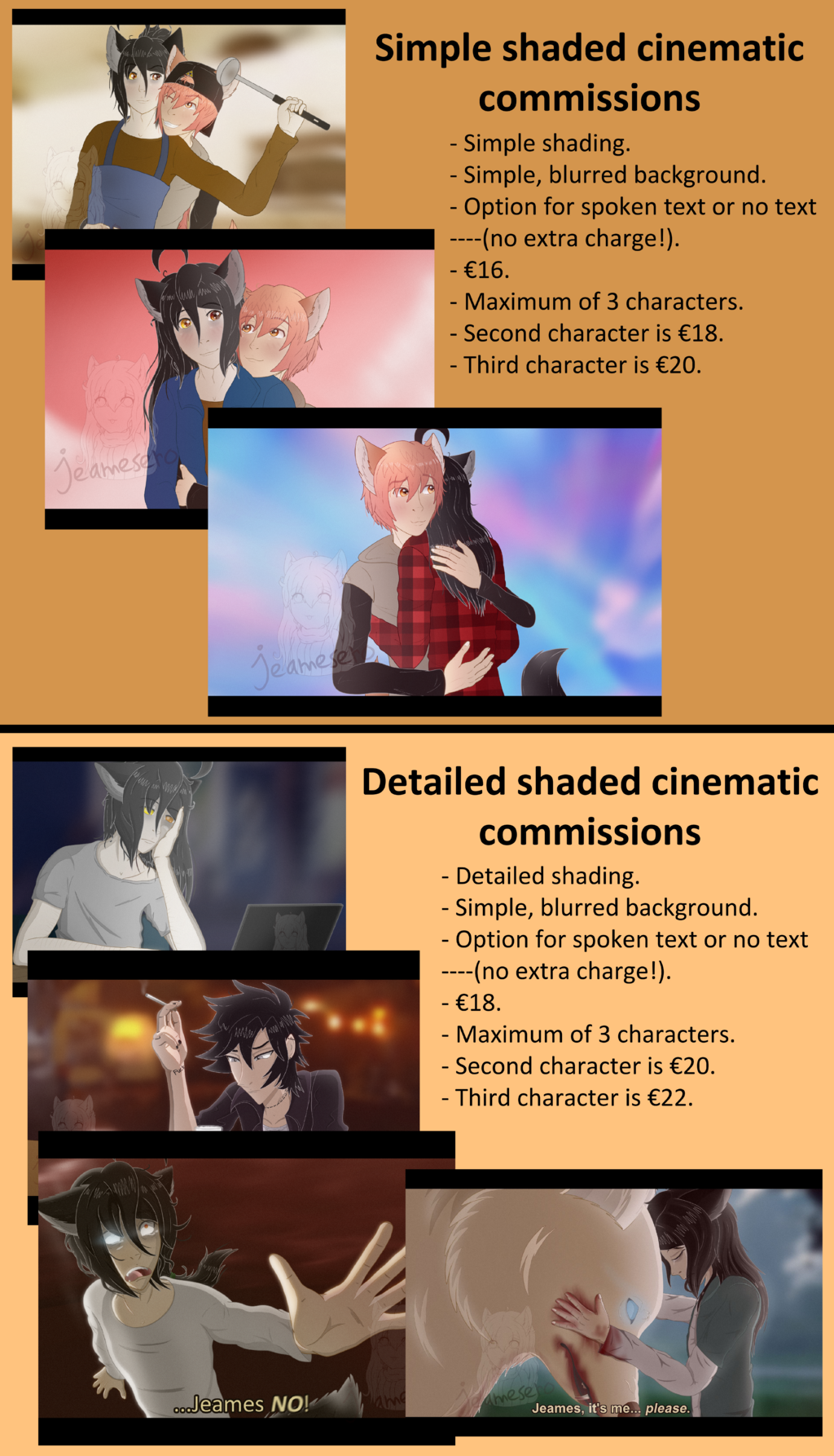 Cinematic scenes commission sheet 2020