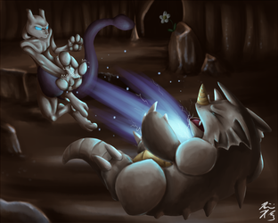 Mewtwo used Aura Sphere! (by IKilledSociety)