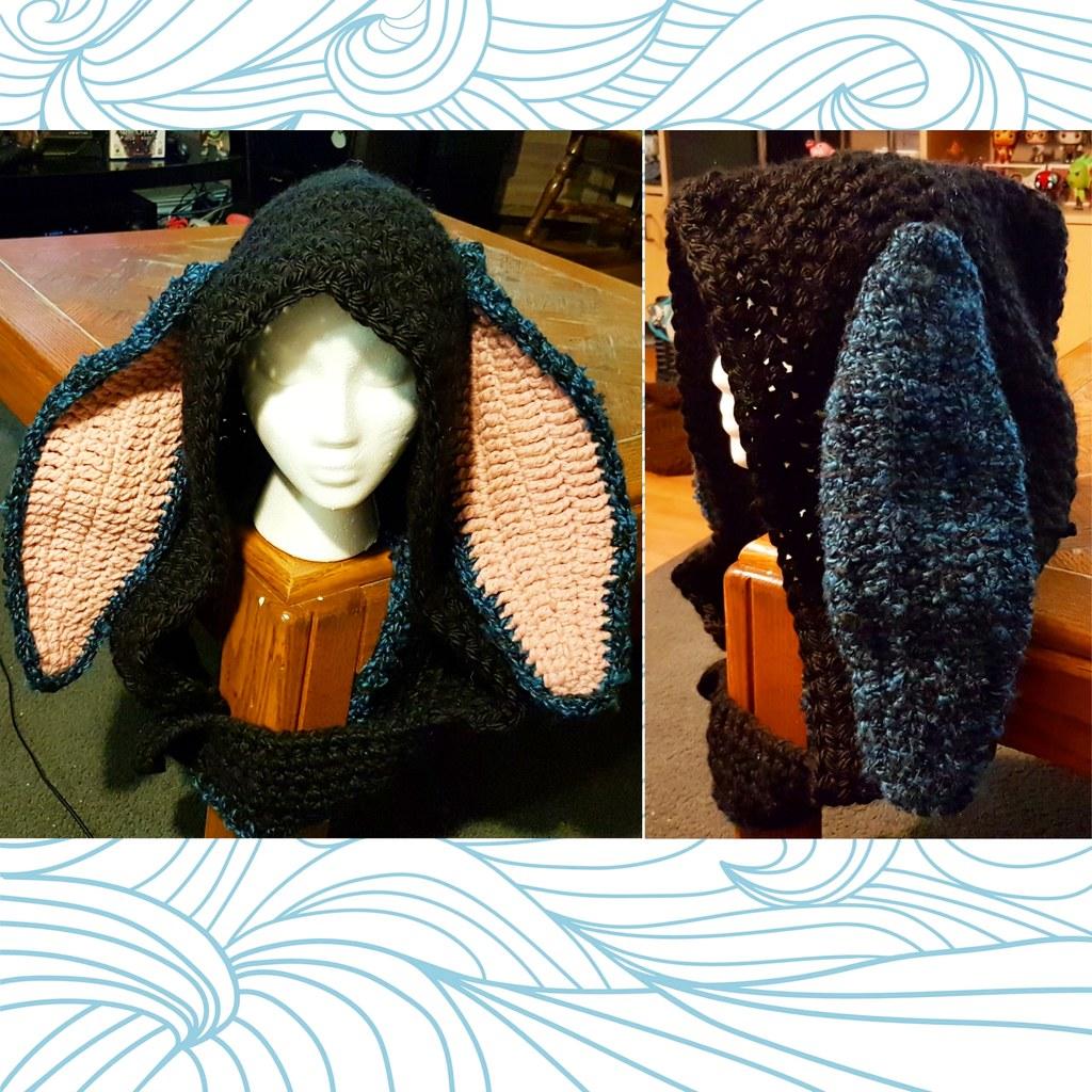 Crochet black rabbit hood