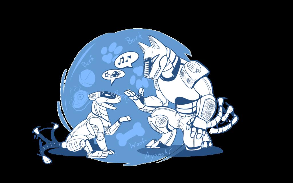 Most recent image: Robot-doggos discussing robot doggo stuff