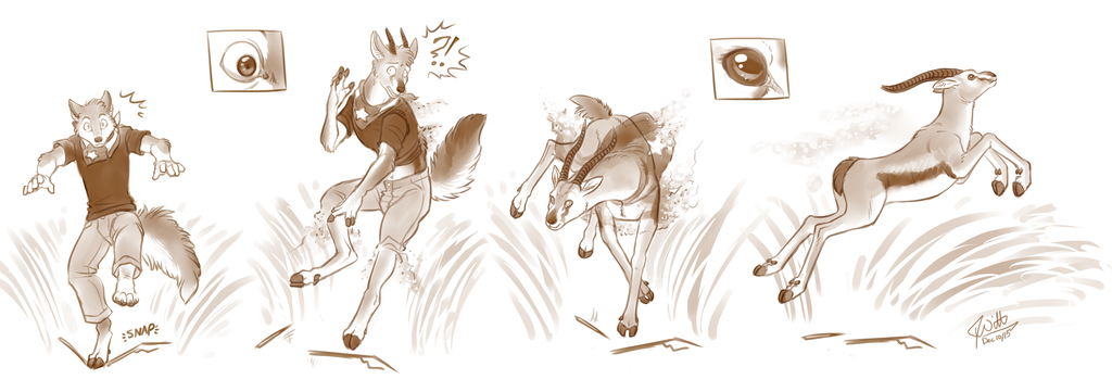 Fight or Flight (Anthro to Feral TF)