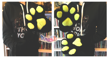 (FOR SALE) Black Fursuit Handpaws With Lime Green Pawpads