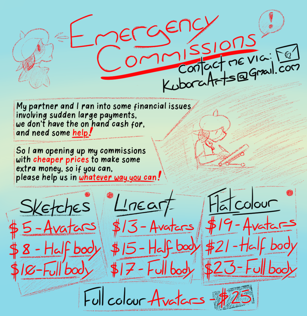 Emergency Commissions are Open!
