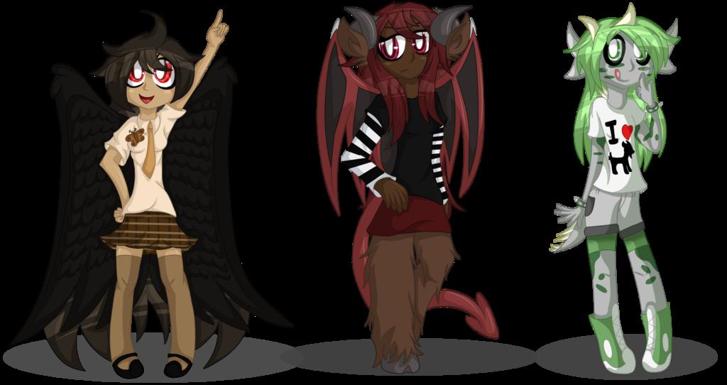 Cryptid Girls - Mothman, Jersey Devil and Chupacabra
