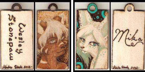 Wes and Mika Wooden Pendants