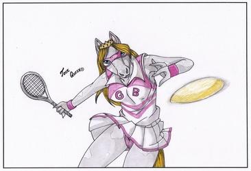 Jock Queen plays tennis