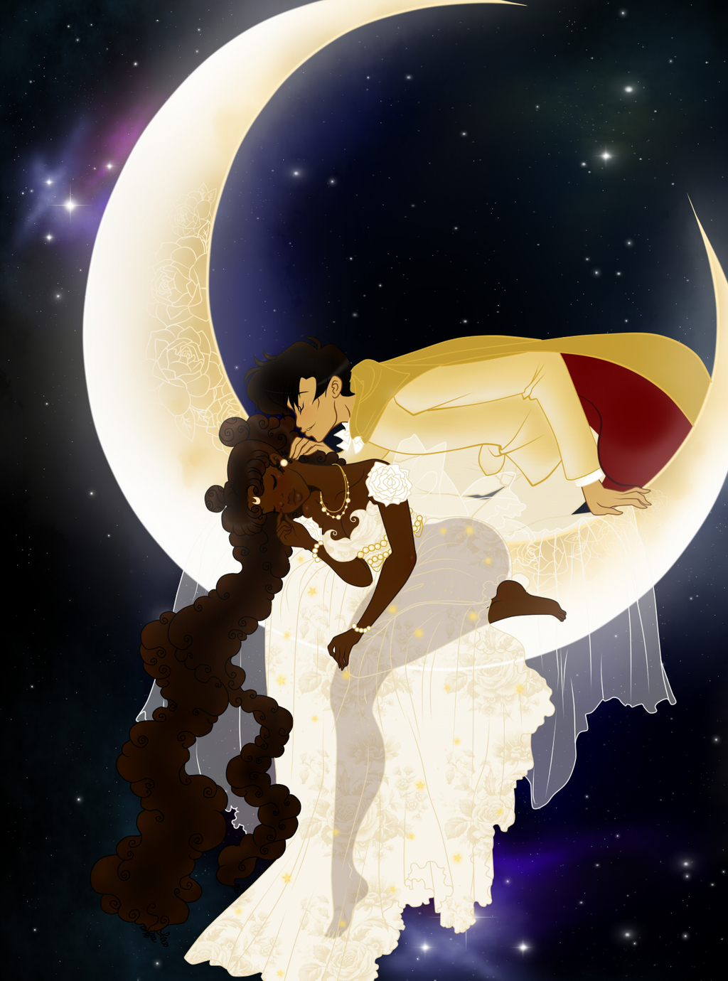 Sailor Moon - Ethnic Wallpaper Edition - Serenity & Mamoru