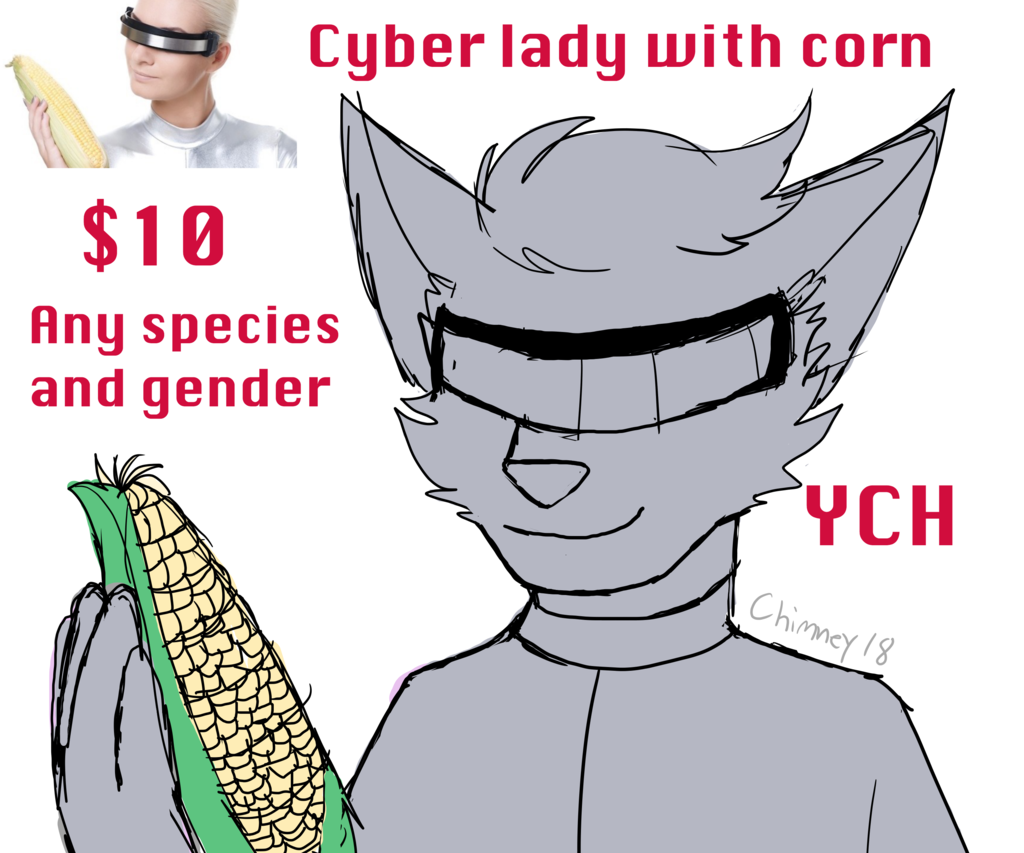 Most recent image: Cyber Lady With Corn YCH (OPEN)
