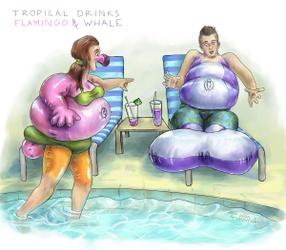 Tropical Drinks - Flamingo & Whale