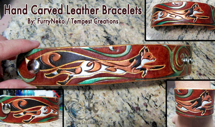 Hand Carved Leather Tribal Fox Bracelet