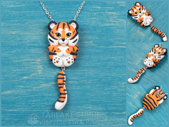 Chibi red tiger full body pendant - for sale