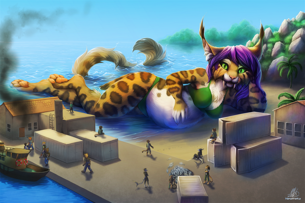 Feligris helps with fish! - art by Neotheta
