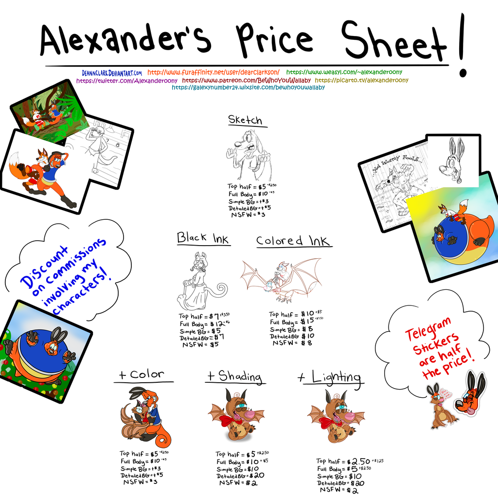 Alexander's Price Sheet