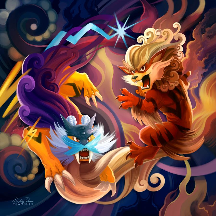 Raikou and Arcanine
