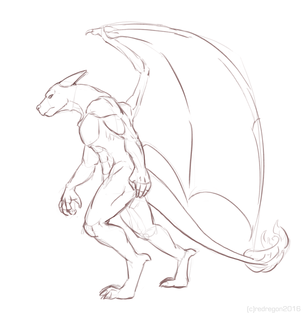 Sketch - Charazard-like character.