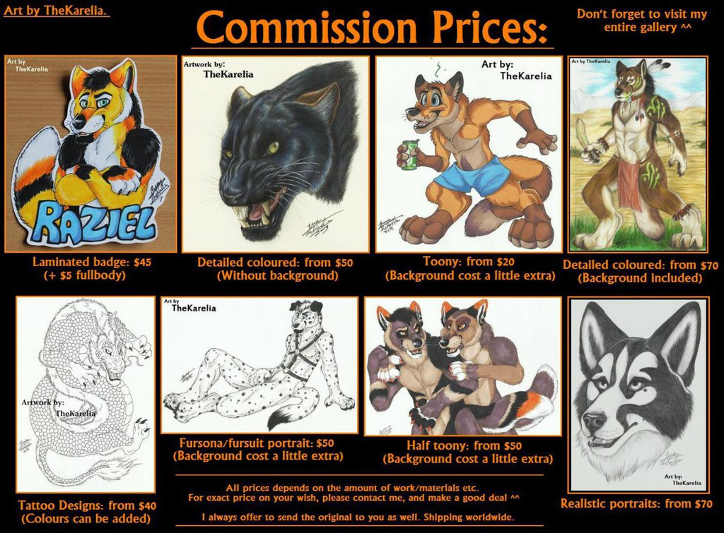 Most recent image: Commission Pricelist