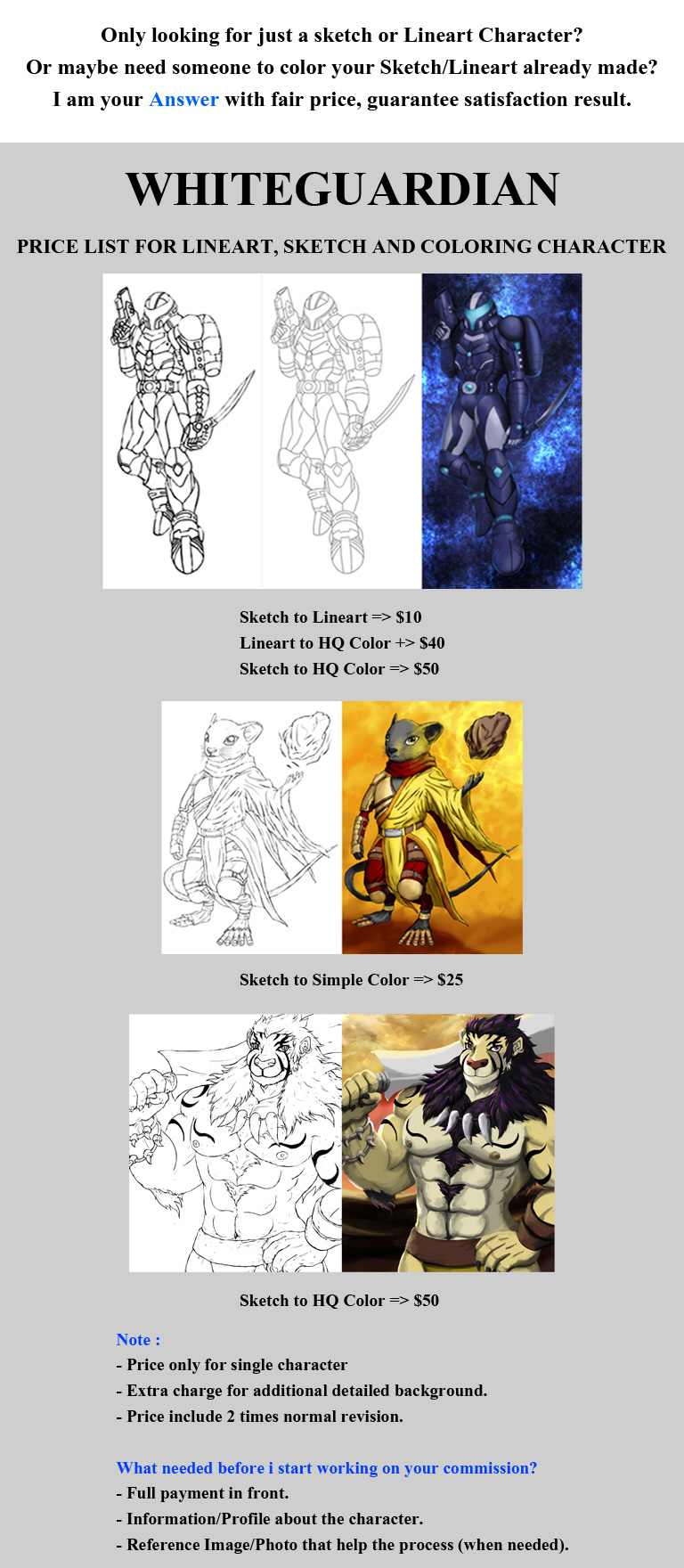 Price List for Lineart, Sketch and Coloring