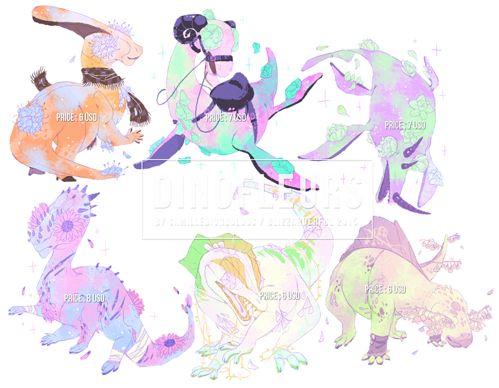Dinofleurs (Common 6) - Adoptables (All gone)