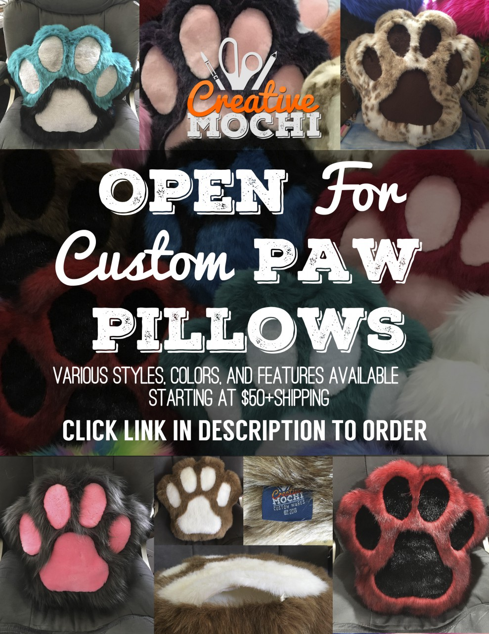 Most recent image: !!!!!OPEN FOR CUSTOM PAW PILLOWS!!!!!!