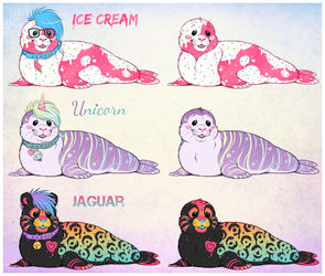 Colorful Seal Adoptables! SOLD!
