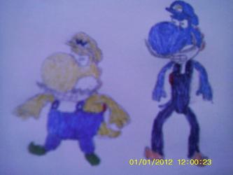 Wario and Waluigi as yoshies