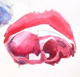Watercolor skull sketch