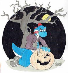 Inktober 18: Carving Pumpkins