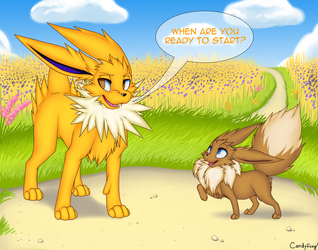 Level000 Commission - Jolteon & Eevee