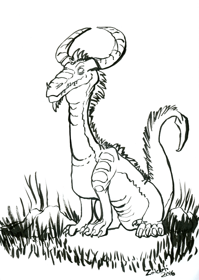 Inktober 2016 Day 22 Sitting Dragon