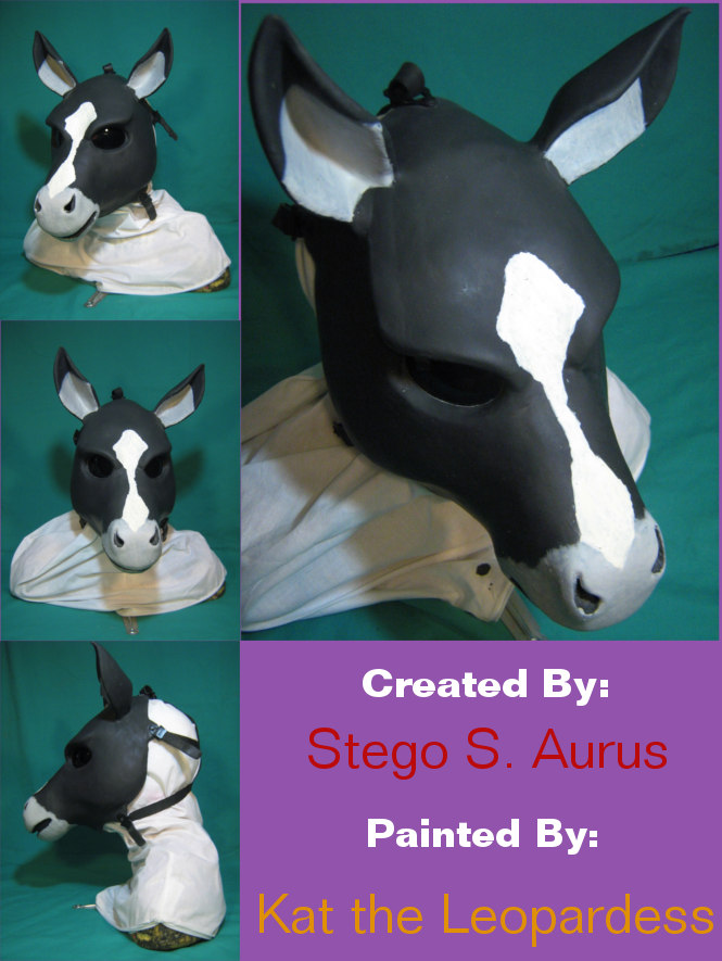 Painted Gas Mask: Black Silver and White Pony