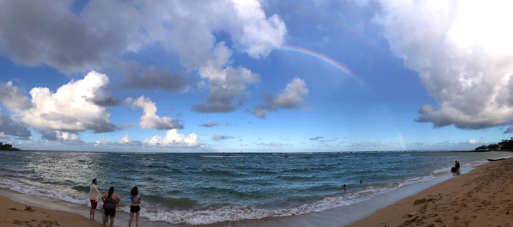 Beach rainbow panorama