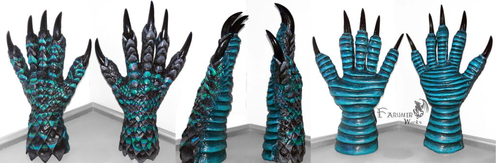 Most recent image: NEW: Dragon/reptile gloves for Kaiju project