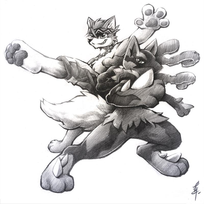 TK & Mega Lucario [commission]