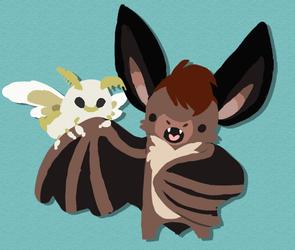 A bat day for a little moth ~ by CartoonLover