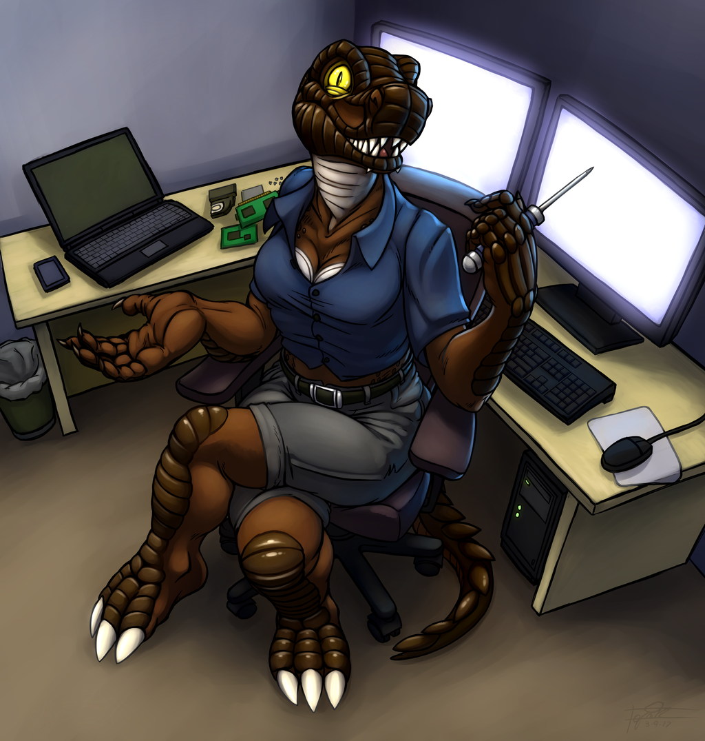 Argonian at work