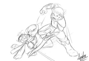 Kain and Rad swordfighting by Spiderdasquirrel