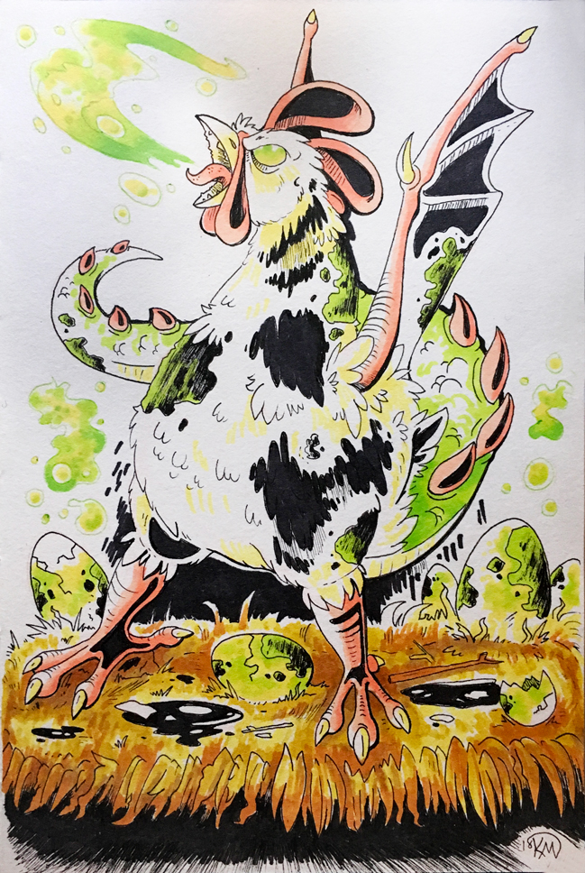 Inktober 2018: Day 5 - Chicken + Infected