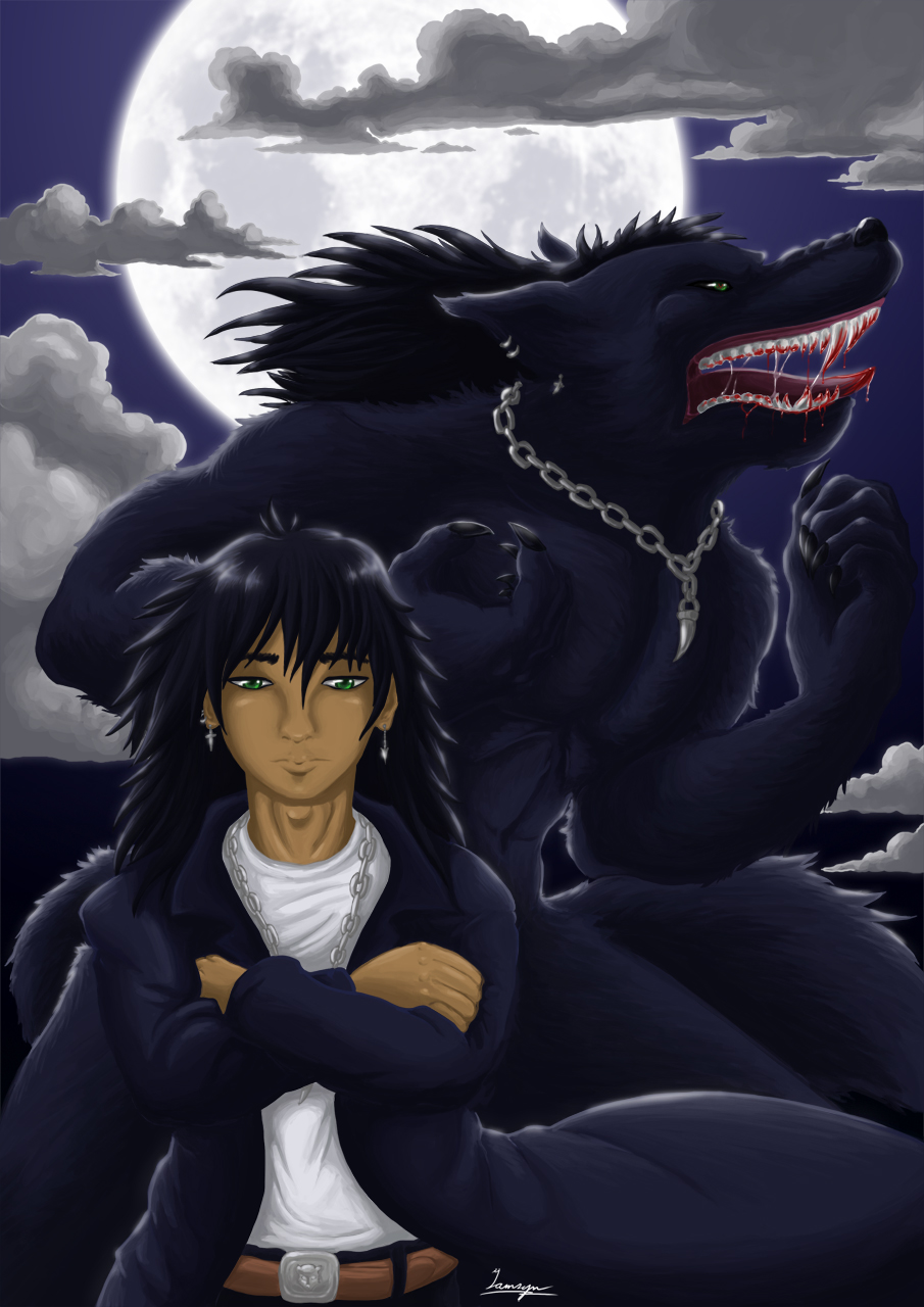The man, the wolf and the moon