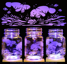 Etched Glass - Manatees
