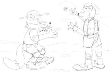 Al Bear and Dexter Fox hiking