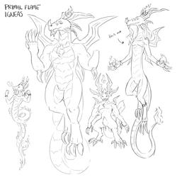 Fire Primal: Igneas sketches (Wayfarer RPG)(Cuffs)