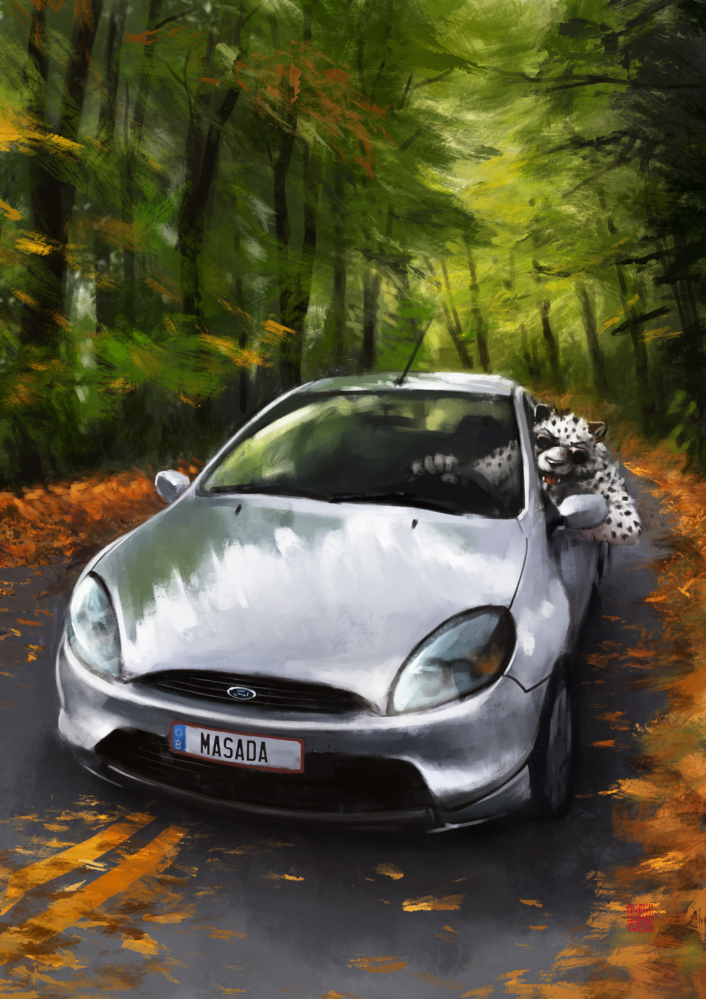 Most recent image: A cat and his car