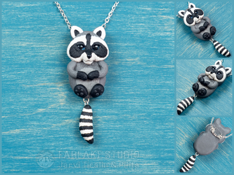 Chibi gray raccoon full body pendant - for sale