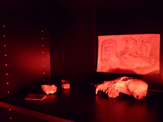 Red Lamp, Black Shelf