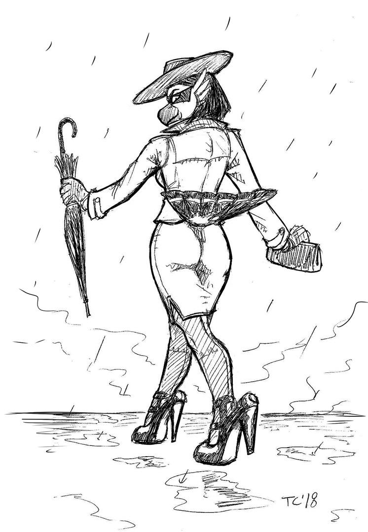 Viktoria Rainy Day Pinup