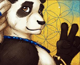 Peace Sign Panda Portrait