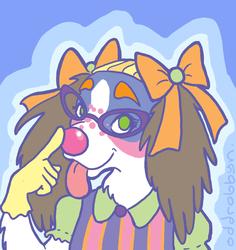 Clowny pastel pup