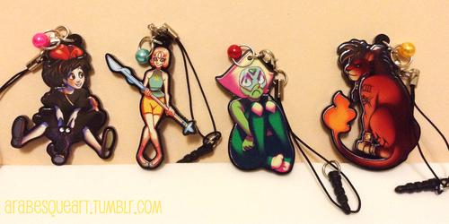 Acrylic Charms - Kiki, Pearl, Peridot and Red XIII